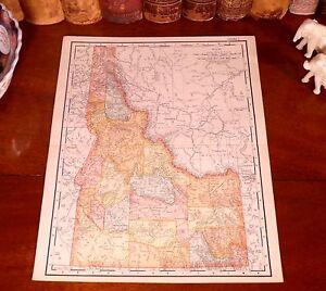 Original 1895 Antique Map IDAHO Pocatello Meridian Nampa Twin Falls Boise ID
