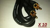 Lot 10, Rca Male To Rca Male 6 Ft. Audio Video, Digital Coaxial Cable Rg-59 U
