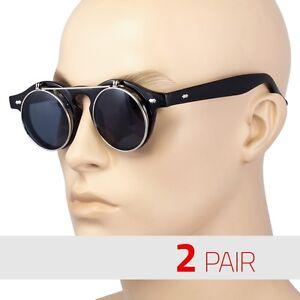 2-Pair-Cool-Flip-Up-Lens-Steampunk-Vintage-Retro-Round-Sunglasses-Silver-Vintage
