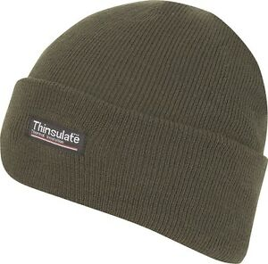 0844583d6f8 Image is loading GREEN-KNITTED-THINSULATE-THERMAL-LINED-INSULATED-HUNTING- BEANIE-