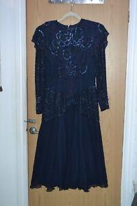 Simon Ellis Collage Gothic Vintage Verziert Perlen Kleid 100% navy silk sz M