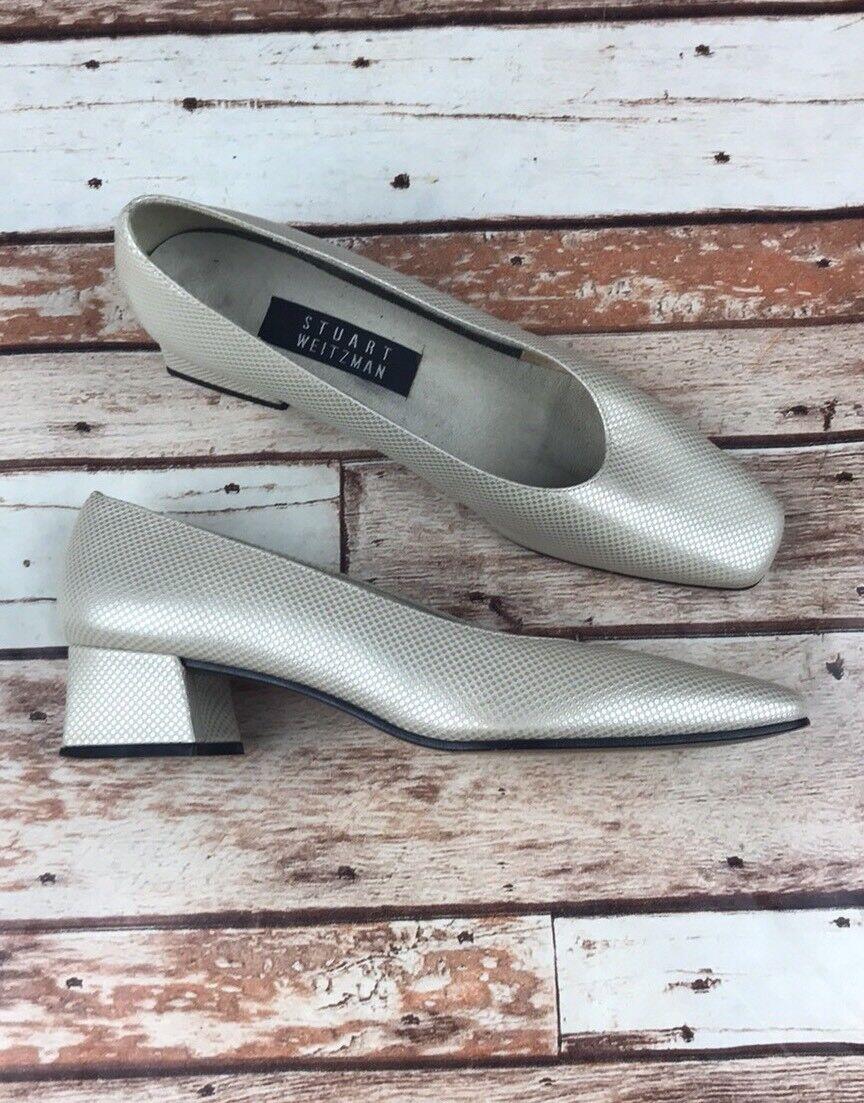 Stuart Wetzman Minimalist 7 1 2 AA Narrow Shimmer Shimmer Shimmer Chunky Heels df954b