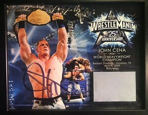 WWE-John-Cena-Signed-Autograph-Wrestlemania-25-Plaque-w-Piece-of-Mat-COA-XXV