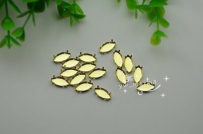100 PCS 5mm x 10mm  Navette Jewels's Settings For Sewing On Golden