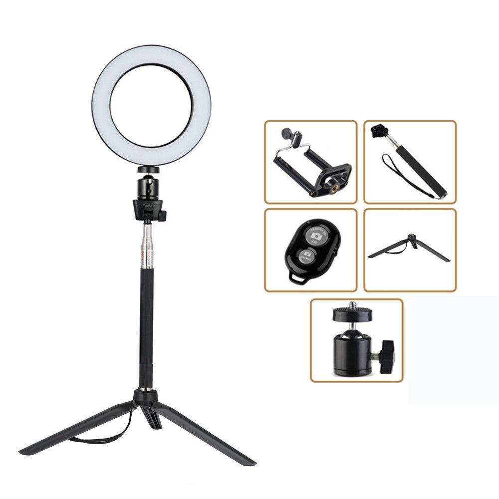 """6"""" Dimmable LED Ring Video Light Makeup Photography Lighting Kit + Mini Tripod 2"""