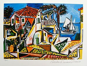Pablo-Picasso-MEDITERRANEAN-LANDSCAPE-Estate-Signed-amp-Numbered-Small-Giclee