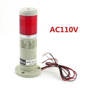 LED AC110V Buzzer Red Signal Tower Light Industrial Warning Lamp Alarm Apparatus