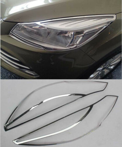 Chrome Front Head Light Lamp Cover Trim for 2013-2016 Ford Escape Kuga abs