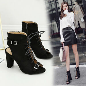 Womens-Roman-Lace-Up-Slingback-Zip-Open-Toe-Ankle-Boots-Block-High-Heels-Sandals