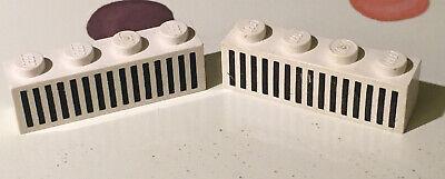 Lego Brick 1x4 +Print: Grille 15 bars 3010p04 White x2