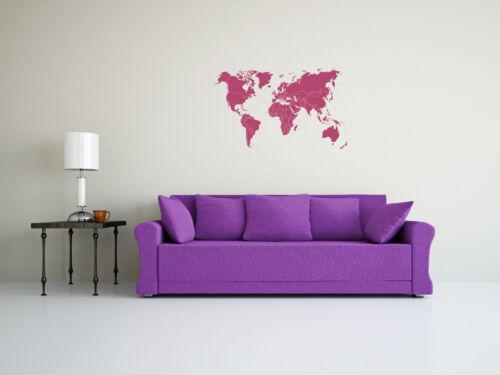 Wandtattoo Weltkarte mit Ländergrenzen Umriß in verschiedenen Größen und Farbe