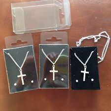 JOB LOT-3 sets of crystal diamonte cross pendants+0.4cm earrings.Gift boxed.