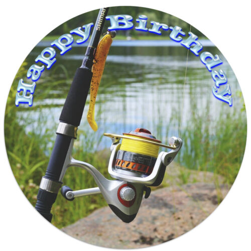 Fishing Fisherman Photo Picture Wafer//Icing Edible Cake Topper Decoration