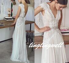 2017 Beach Low Back Lace White/Ivory Wedding Dress Cap Sleeve Custom made 8 10+