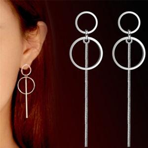 Argent-boucles-d-039-oreilles-geometrie-femmes-cercle-Drop