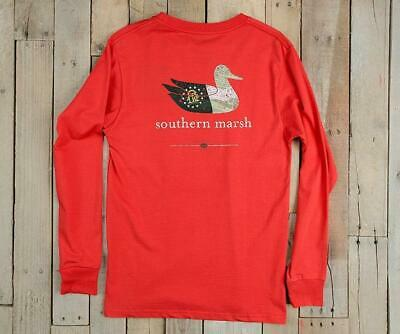 Southern Marsh Authentic Long Sleeve in Navy Red