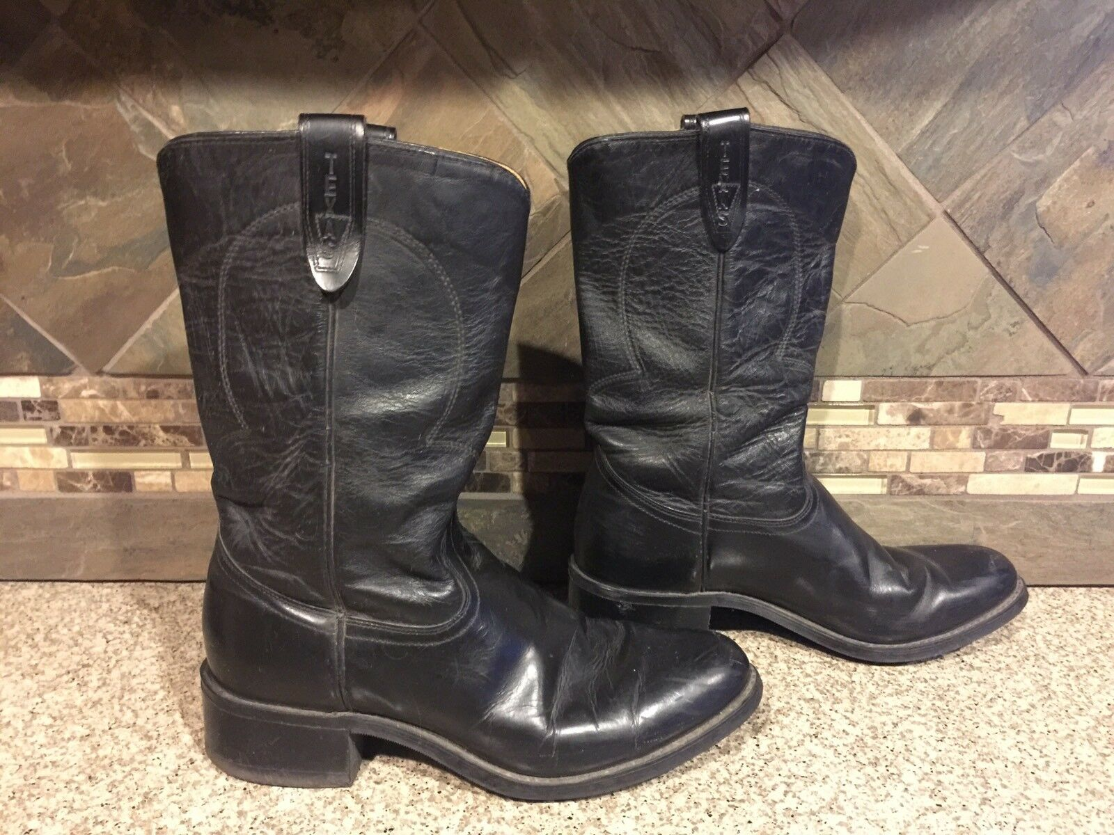 Mens Texas 8300 Sz 8 D Black Leather Cowboy Boots