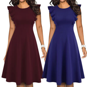 Elegant-Womens-Ruffle-Office-Wear-Dress-A-Line-Swing-Casual-Cocktail-Party-Dress
