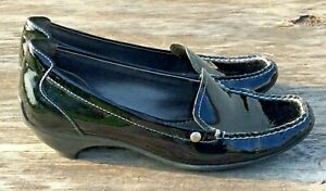 AK-Anne-Klein-Makayleah-Iflex-Leather-Slip-on-Shoes-Black-Womens-Size-8-1-2-M