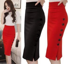 ec6d69bb965 Details about 2018 Women s Office Skirt Bodycon Plain Pencil Stretch Midi  Dress Plus Size