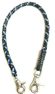 Biker-chain-Black-Blue-braided-leather-Heavy-Duty-Trucker-wallets-made-in-USA