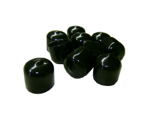 Lot of 10 Plastic Caps - .531 ID - Black - High Quality Short Caps - 5/8 Tubing