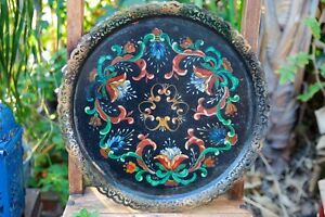 Vintage-Toleware-Hand-Painted-Black-Metal-Floral-Tray-with-Filagree-Border