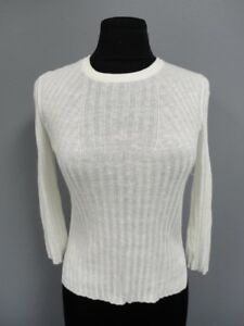 3ff565320cb THEORY White Linen Blend Ribbed Casual Knit Crewneck Sweater Size P ...