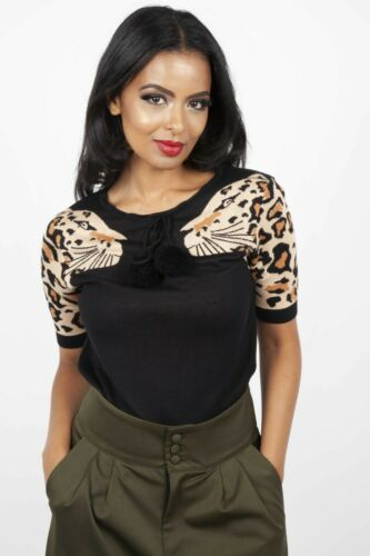 VOODOO VIXEN Natalia Leopard Sleeve Sweater JUMPER SWA 6287 RETRO VINTAGE