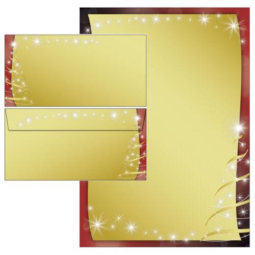 Weihnachten schwarz rot gold Motivpapier Briefpapier 100 Blatt A4 100 Kuverts