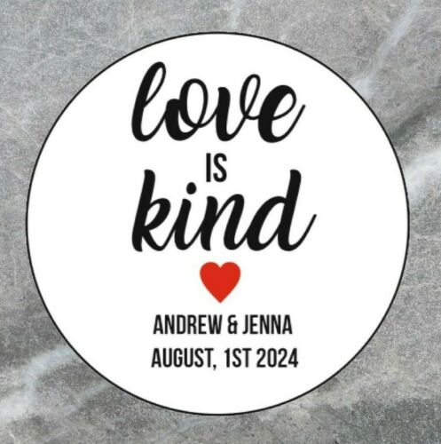 35x Love Is Kind Custom Personalised Name Wedding Stickers Favor Circle 30mm 041