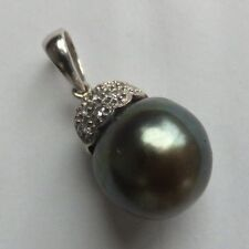 Vintage Black Pearl & Diamond 18ct White Gold Pendant