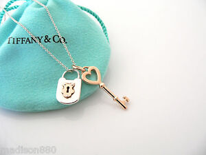 Tiffany Co Silver 18k Rose Gold Heart Key Locks Necklace