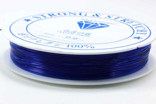 Hilo de goma elástica 0,6 mm nylon hilo perlas hilo cinta elástica elección de color s58