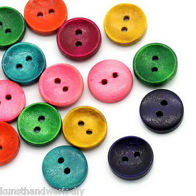 Großverkauf Mix Rund 2 Löcher Holz Knopf Knöpfe Buttons 15mm DIY Basteln