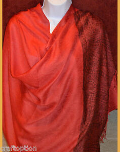 Paisley-border-Pashmina-Silk-blend-Shawl-Stole-Wrap-in-red-from-India