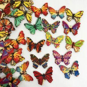 50Pcs-Mixed-Bulk-2-Holes-Butterfly-Wooden-Sewing-Buttons-Scrapbooking-Prac-Top