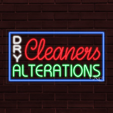 New Dry Cleaners Alterations Withborder 37x20x1 Inch Led Flex Indoor Sign 31284