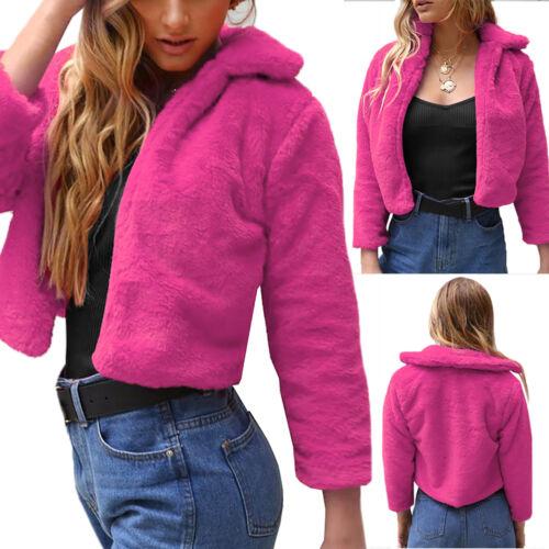 Women Fluffy Fleece Faux Fur Shaggy Winter Warm Lady Short Jacket Coat Outerwear