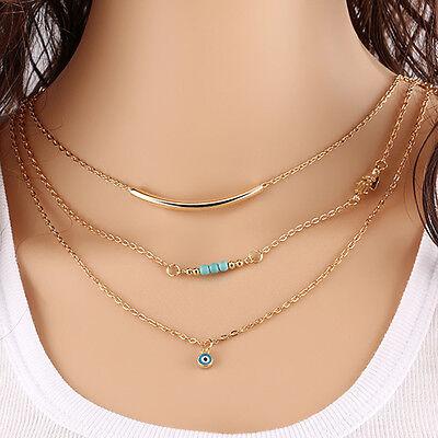 Hot Women Pendant Gold Chain Choker Chunky Statement Bib Necklace Jewelry Charm