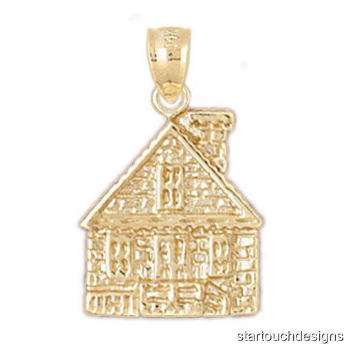 New 14k Yellow gold House Charm Pendant
