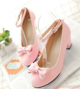 Lolita-Womens-Bowknot-Mary-Janes-Ankle-Strap-CasualPumps-Chunky-Round-Toe-Shoes