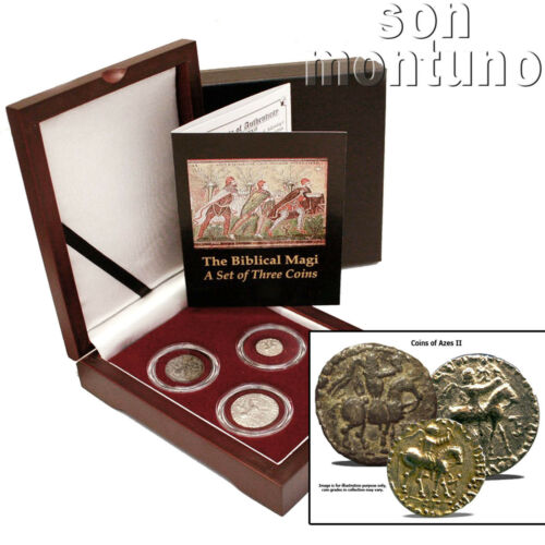 3 BIBLICAL MAGI COIN BOX SET Ancient Persia Silver//Bronze Azes II Jesus 35BC-5AD
