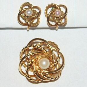 Vintage-signed-H-G-gold-filled-cultured-pearl-love-knot-pin-screwback-earrings