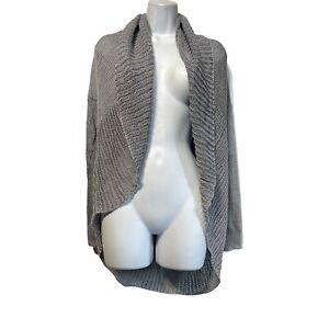 vince. gray 100% linen open knit cardigan womens Size XXS
