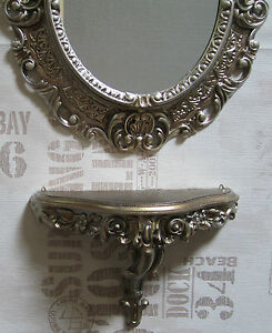 Wall-Mirror-Console-Oval-Bracket-Set-Baroque-Antique-44x38-Silver-NEW