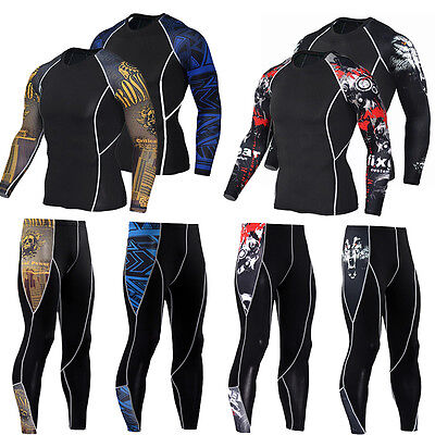 Men Compression Sport Sets Athletic Apparel Under Base Layer  Outfits Tops/&Pants