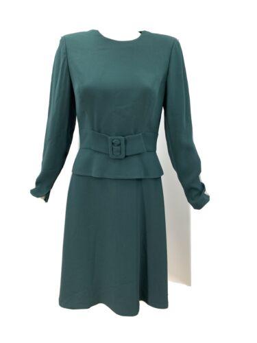 Travilla Vtg Green Peplum Dress With Attached Belt
