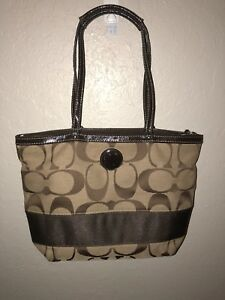 048b4f0727d2 Details about Coach Signature Stripe Top Handle Tote Handbag F47750  Mahogany Khaki