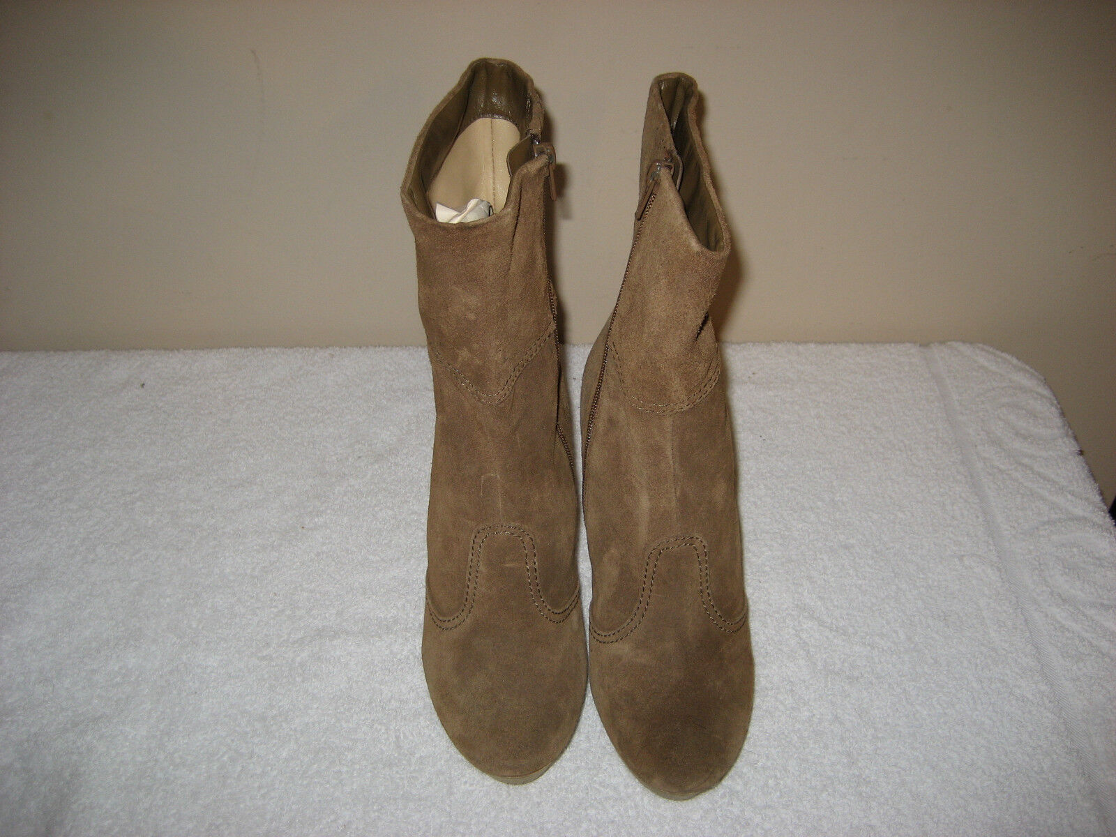 Brown Suede BCBG AUBREY ALL LEATHER TALL Heel Boots SIZE 8